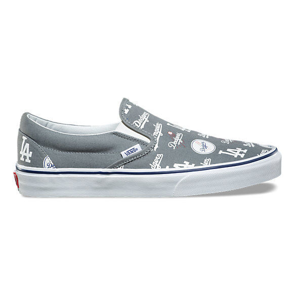 Vans Classic Slip On Los Angeles Dodgers Gris Homme 11.5 Skate Chaussures New
