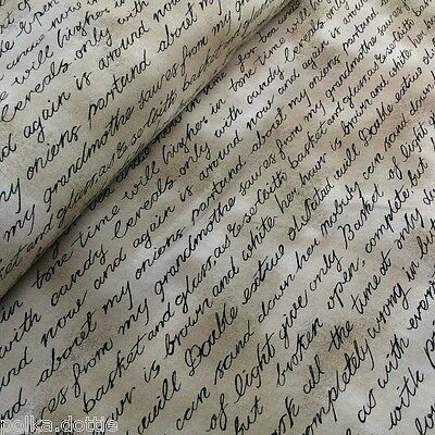 Vintage Script Handwriting Fabric 100% Cotton Patchwork Quilting 50cm x 55cm