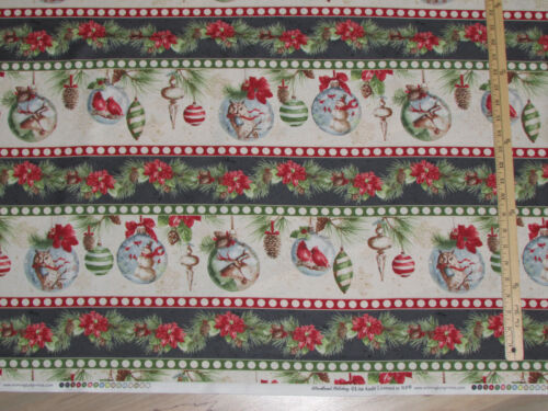 Woodland Holiday Owl Ornament Stripe Christmas Fabric by the 1//2 Yard  #86391