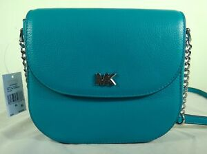 a779da876ad4 Michael Kors Half Dome Tile Blue Pebbled Leather Small Crossbody Bag ...