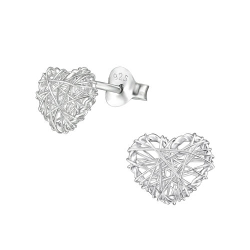 Collection 8 925 Sterling Silver Heart Design Stud Earrings