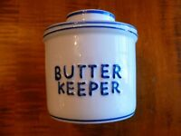 Butter Keeper Bell Blue & White Crock Holds A Full Stick Of Butter - 1/2 Cup