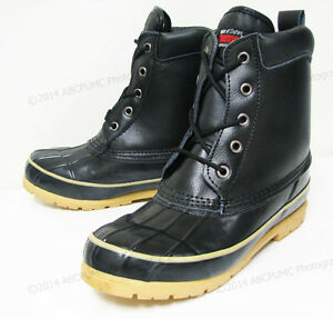 Men's Duck Boots Leather Black Thermolite Waterproof Hiking Winter, Sizes: 6-13