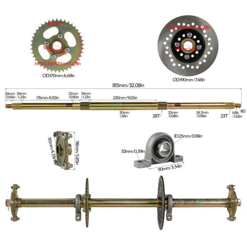 "32/"" Go Kart ATV Rear Live Axle Kit Steering Wheel Assembly Tie Rod Rack Shaft"