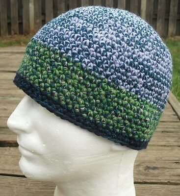 Smaller Size Blue/Green/Violet Crocheted Beanie - Handmade by Michaela
