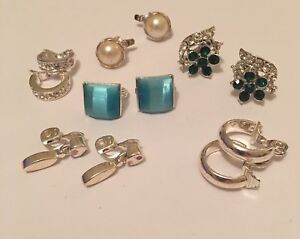 Details About Lot Of 6 Vintage Costume Jewelry Earrings Clip On Signed Monet Lisner