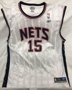 reputable site 076a2 e69bc Details about Screenprinted Vince Carter New Jersey Nets Jersey NBA Home  White Reebok Size 2XL