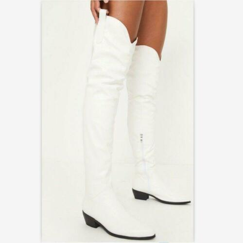 Women/'s Over Knee Boots Block Low Heels Leather Round Toe Casual Shoes Side Zip