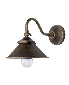 Applique Lampada Parete In Ottone Brunito Con Campana