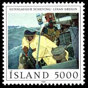 "En Herbe Islande 1981 Pêche En Mer, ""tirant La Ligne"" Par Gunnlaugur Scheving, Hank/neuf Sans Charnière"