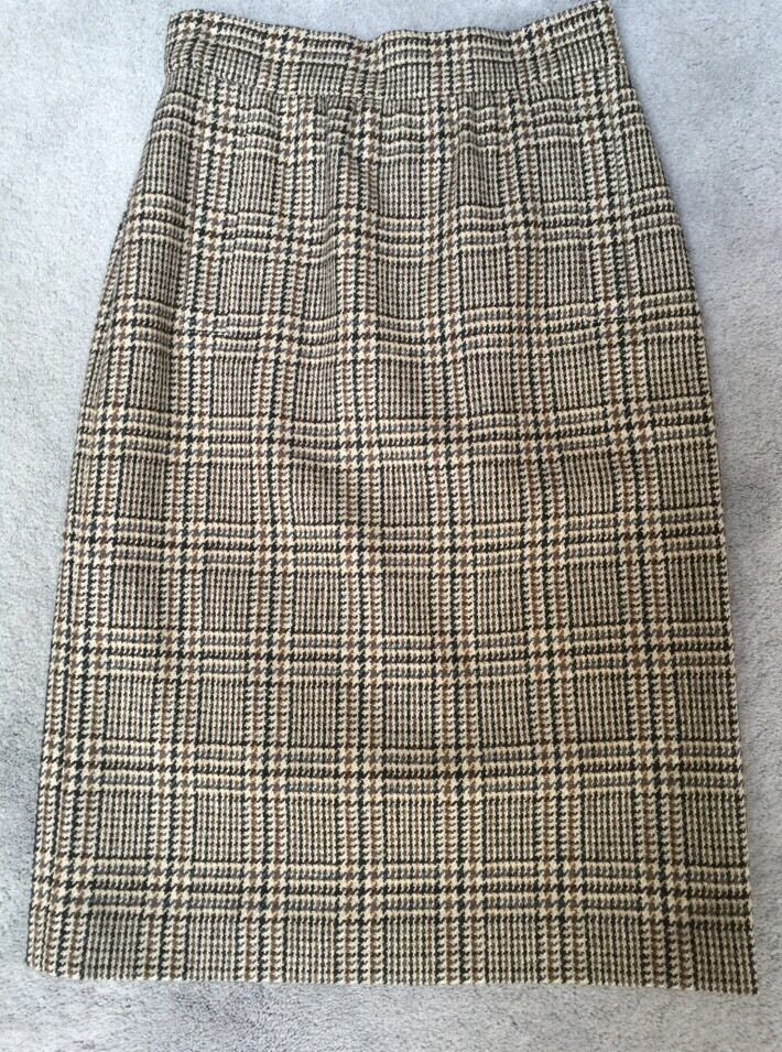 VINTAGE ESCADA WOMENS Brown Tan Beige Glen Plaid Knee Length Skirt Sz 36 NWOT