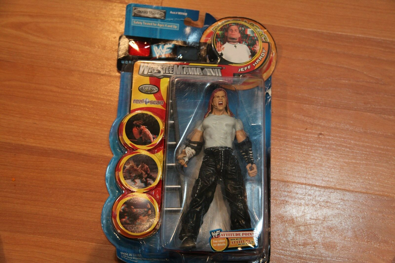 WWE WWF Jakks JEFF HARDY Action Figure Wrestlemania XVII Rebellion FREE SHIPPING