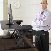 Adjustable Height Stand Up Desk Computer Workstation Lift Rising Laptop Black