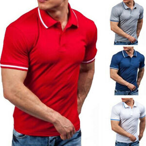 Fashion-Men-039-s-Collar-Neck-Shirt-Short-Sleeve-Shirts-Solid-T-Shirt-Tee-Tops-Shirt
