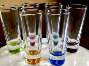 Set-of-6-Multi-Colored-Shot-Shooter-Cordial-Glasses-2oz-Glasses-4-1-2-Tall