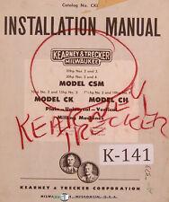 Kearney Trecker Csm Ck Ch Milling Machine Installation Only Manual