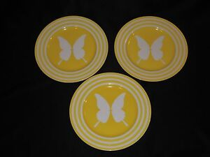 3-Vintage-Fitz-and-Floyd-Papillion-Yellow-Butterfly-Bands-10-1-4-034-Dinner-Plates