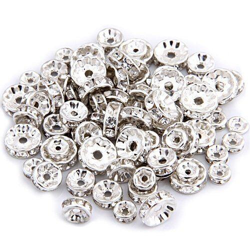 Strass DIY Collier Bijoux 6+8+10mm WT 75 Perle Intercalaire Plaque d/'argent