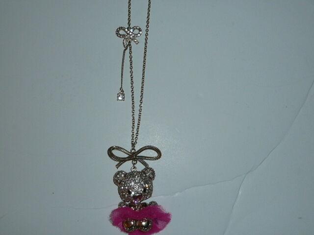Betsey Johnson Terrific Tutu Gold Tone Crystal Bear Pendant Long Necklace NWT