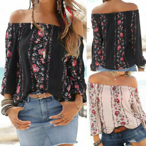 Womens-Off-Shoulder-Floral-Print-Tops-Long-Sleeve-Loose-Casual-Blouse-Shirt-ZC