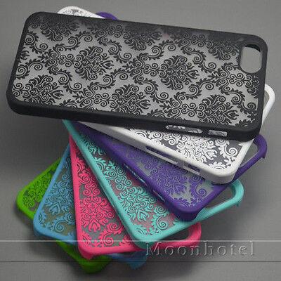 Rubberized Retro Damask Pattern Matte Hard Case For iPhone 6 6s 6 Plus 5 5S 5c 4