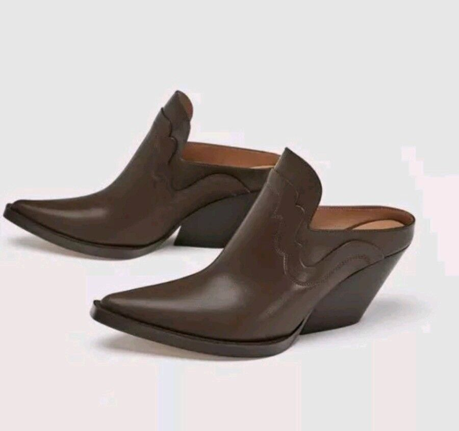 ZARA SS18 leather mule ankle boots brown 9 40 NEW