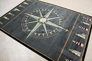 Nautical Lighthouse Tropical Compass Carved Blue Black