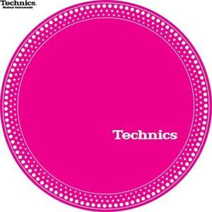 Technics-60664-PAIR-Slipmat-Strobe-1-White-Dots-Pink-Original-Brand-New