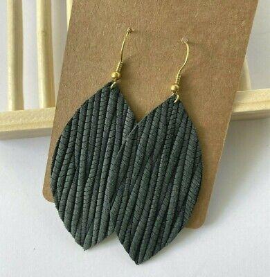 Teal Leather Teardrop Earrings  Genuine Leather  Teal Palm Leaf  Lightweight Earrings  Textured Leather Earrings