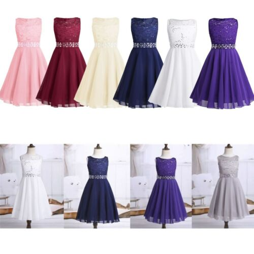 Girls Floral Lace Chiffon Wedding Bridesmaid Party Dress Pageant Princess Gown