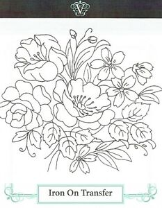 Vintage-Visage-iron-on-embroidery-transfer-flowers-floral-bouquet-2-sheets