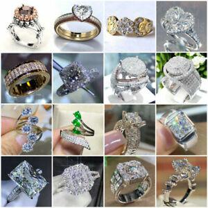 Gorgeous Women 925 Silver Rings White Diamond Round Cut Wedding Ring Size 6 New