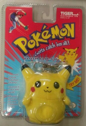 Key Chain RARE Vintage 1999 Pokemon Pikachu Talking Clip-On Brand New