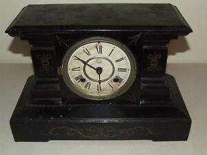 Antique 19th C. New Haven Clock Co. Black Cast Iron Victorian Mantel Shelf Clock