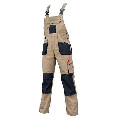 Bib and Brace Beige Overalls Mens Work Trousers Bib Pants Knee Pad Multi Pocket