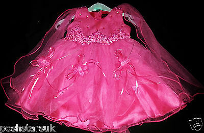 Hot Pink Christening Flower Girl Bridesmaid Pageant Wedding Party 0-24m Easter