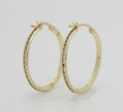 14K Solid Yellow Gold CZ 2mm Thickness High Quality Hoop Earrings [7 Sizes]