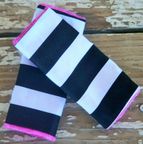baby car seat strap covers black stripe and pink minky