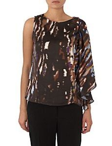 Pied-A-Terre-House-of-Fraser-RRP-65-Brown-Blue-Frill-Sleeve-Top-Shirt-Fast-Ship