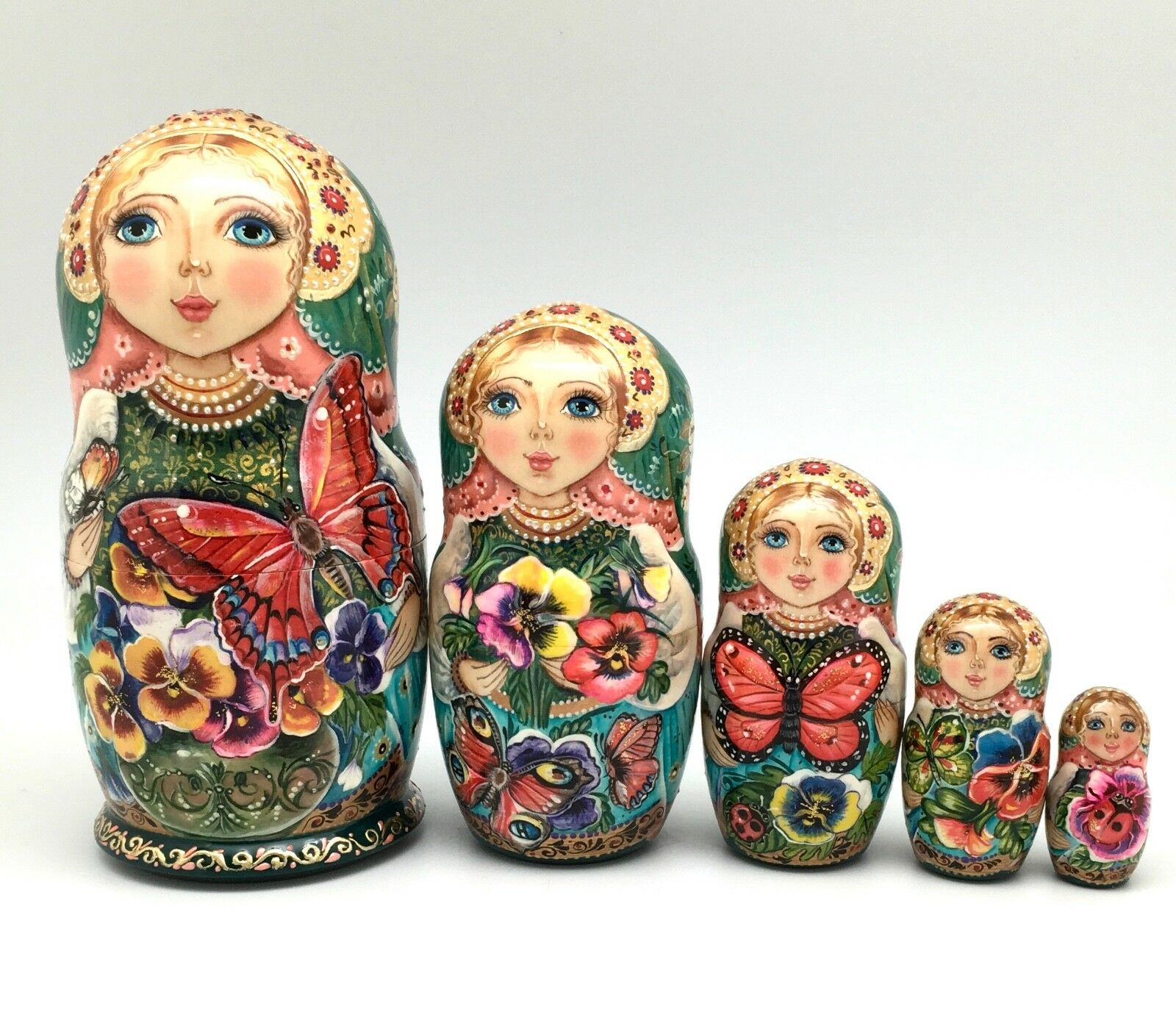 Unique Russian Nesting DOLL Butterflies and Pansies Hand Painted Babushka