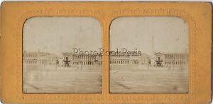 Parigi Place Da La Concorde Foto Stereo Colorati Vintage Albumina Ca 1860