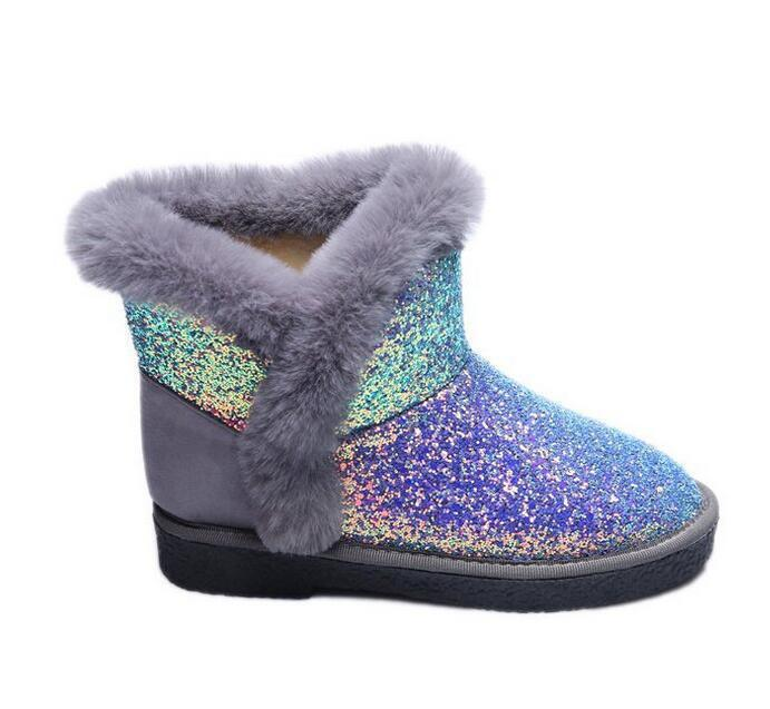 Womens Flat Shining colorful Sequin Snow Winter Ankle Boots Fur Lined Warm shoes