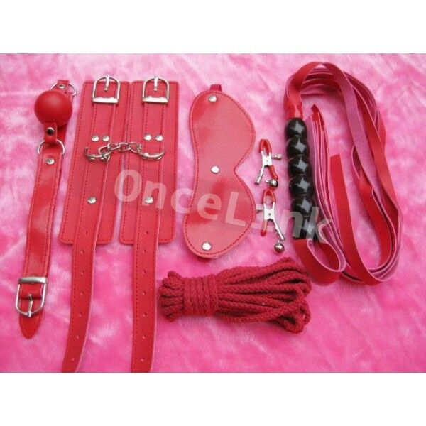 Sexy Lingerie PU Leather Whp Nipple Clip Mask Handcuffs Costume Role Play BDSM
