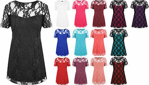 New-Ladies-Lace-Floral-Lined-Top-Womens-Plus-Size-Stretch-Short-Sleeve-Top-14-28