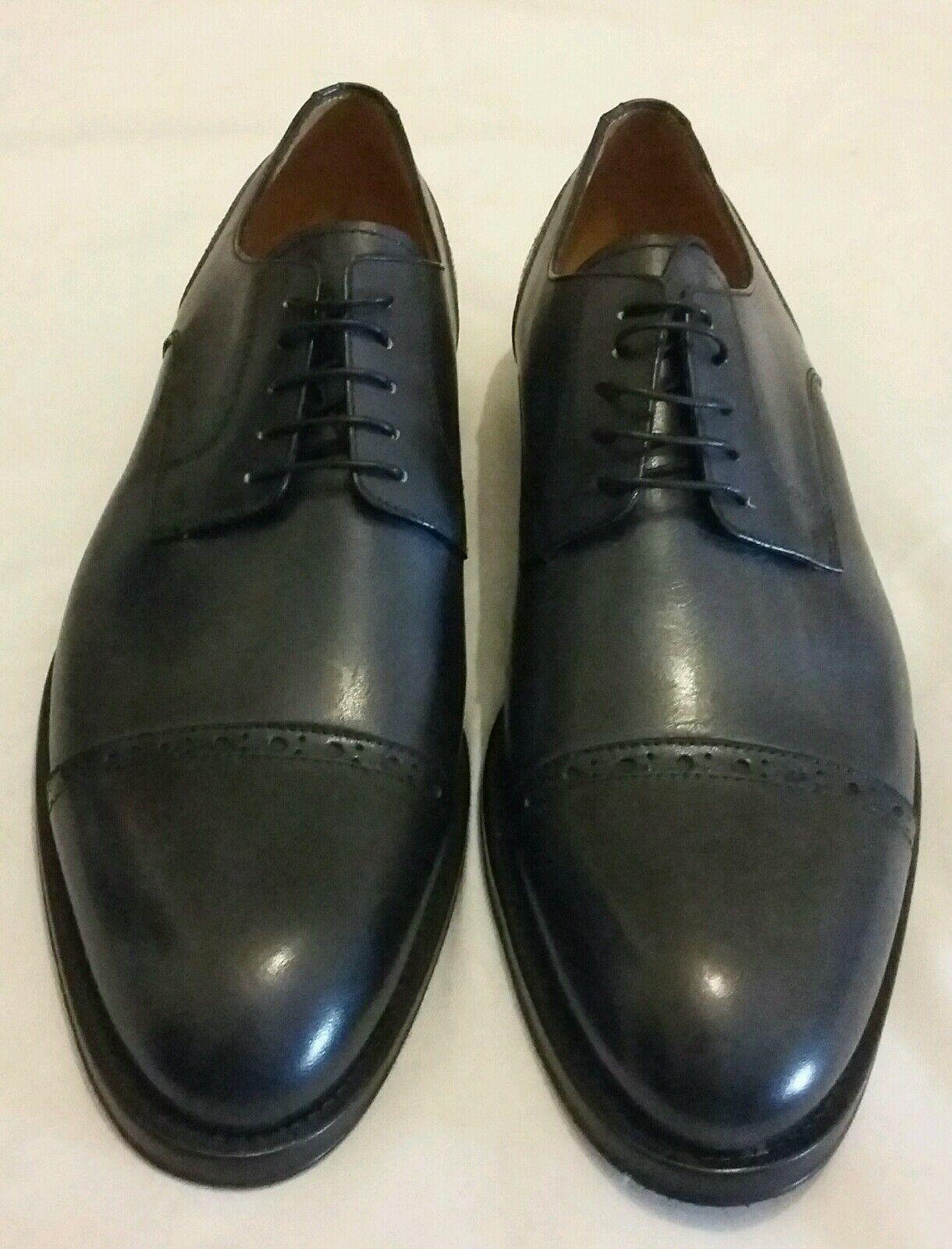 FLECS R1611 Derby Cuero Calado Para Hombre De Cuero Con Cordones Zapatos gris