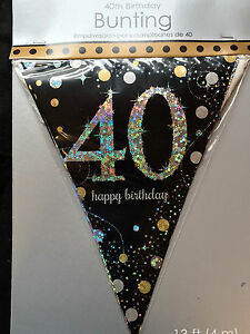 40th Birthday Pennant Flag Banner Black Silver Gold Party