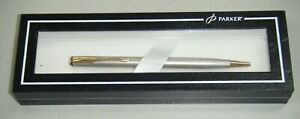 Boxed-Parker-Insignia-France-Stainless-Steel-Ballpoint-Pen