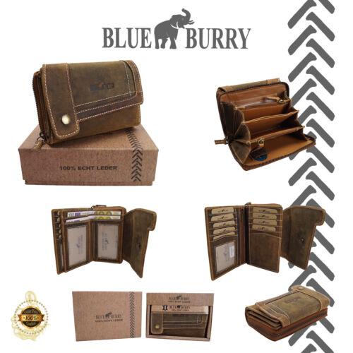 ★Damen Geldbörse Blue Burry XL Frauen Portmonee Portemonnaie Used Look Braun Tan