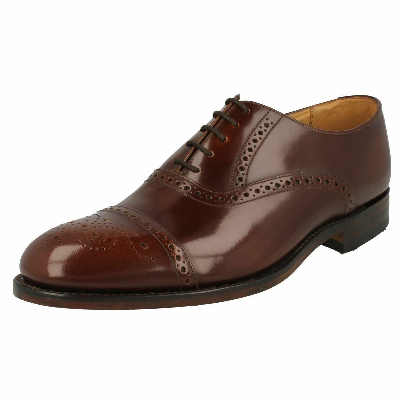 MENS LOAKE BROWN LACE UP LEATHER SHOES IN SIZE 8.5F STYLE OBAN BROWN