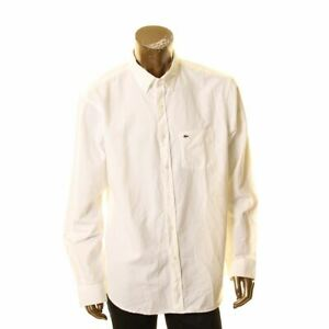 LACOSTE-NEW-Men-039-s-Off-White-Solid-Cotton-Regular-fit-Button-Front-Shirt-44-TEDO